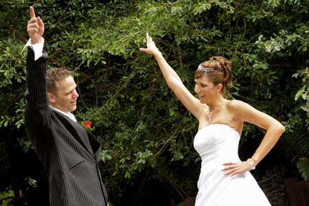A couple dancing on their wedding day