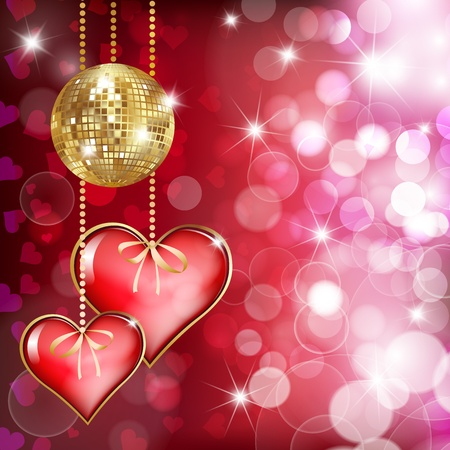 Photo pour Two  hearts and gold disco ball on ped background with bokeh - image libre de droit