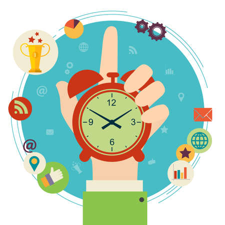 Illustration pour Flat design illustration concept for time management. Hand hold clock. - image libre de droit