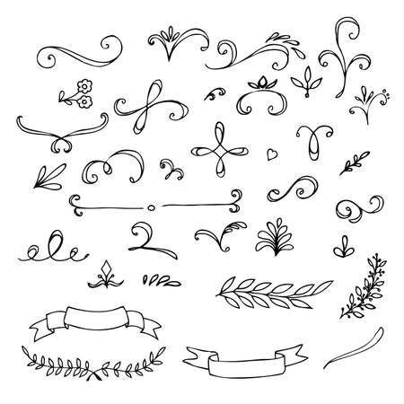 Illustration for Hand Drawn vintage floral elements. Swirls,  leaves,  branches, banners and curls. Vector - Royalty Free Image