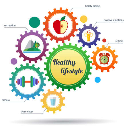 Photo pour A modern set of infographic and icons healthy lifestyle. Abstract infographic design. Gear transmission and symbols healthy lifestyle. - image libre de droit