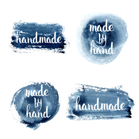 Illustration for Handmade. Original custom hand lettering. Handmade calligraphy, vector. Illustration for logo, brochure and other printing projects. - Royalty Free Image