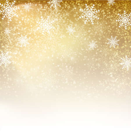 Illustration for Gold background with  snowflakes. Vector illustration for  posters, icons, greeting cards, print and web projects. - Royalty Free Image