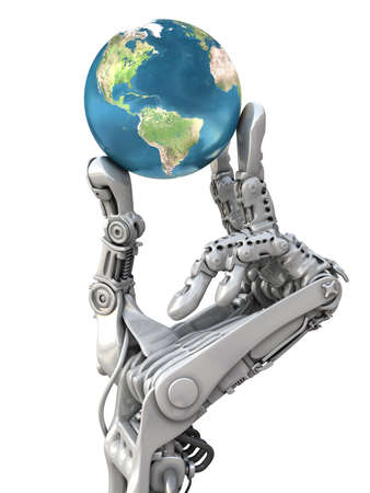 Photo pour Robot holding the blue globe. The Earth planet in hands at high technology. Conceptual 3d illustration - image libre de droit