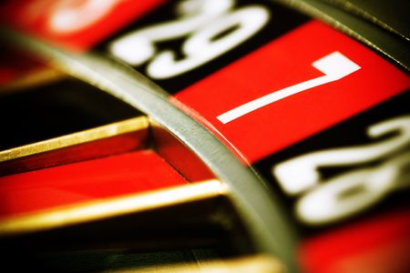 Close up view of the roulette whill, seven