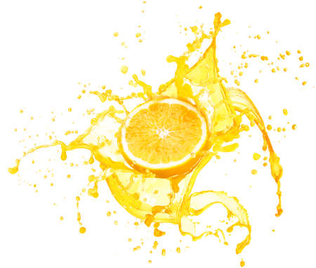 Photo pour Orange juice splashing with its fruits isolated on white background - image libre de droit