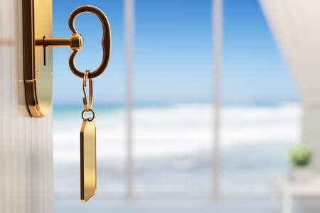 Photo for Room with ocean view - The start of a great vacation (3d render with shallow DOF) - Royalty Free Image