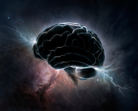 Foto de Brain inter-connected with the universe - conceptual digital art  - Imagen libre de derechos