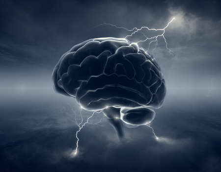 Foto de Brain in stormy cloudscape and lightning - conceptual of brainstorm - Imagen libre de derechos