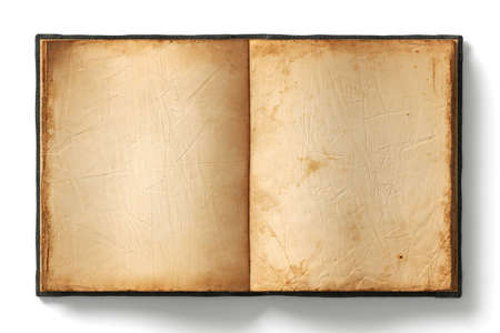 Photo pour Open book with empty old worn pages on white background - image libre de droit