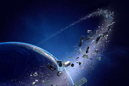 Photo pour Space junk orbiting around earth - Conceptual of pollution around our planet (Texture map for 3d furnished by NASA -  http://visibleearth.nasa.gov/) - image libre de droit