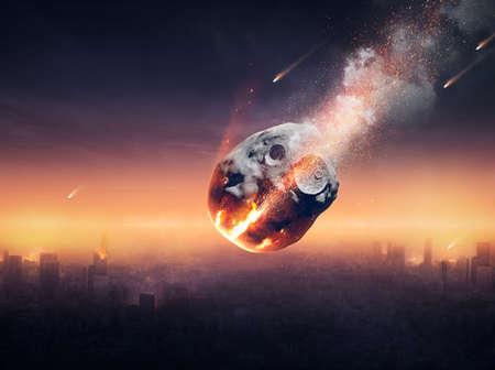 Photo pour City on earth destroyed by meteor shower - 3D artwork -conceptual global disaster - image libre de droit