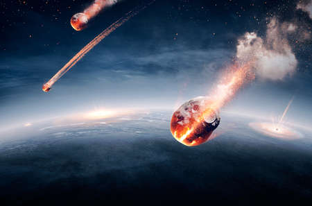 Photo pour Meteorites on their way to earth and breaking through atmosphere (Elements of this image furnished by NASA- earthmap for 3Drender) - image libre de droit