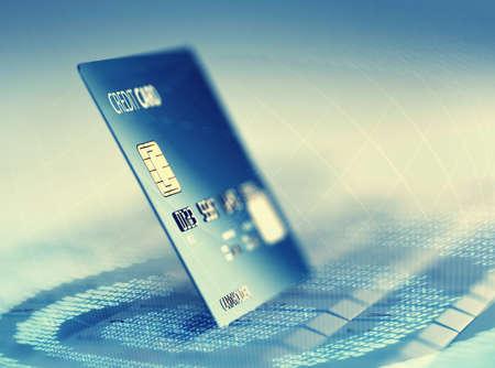 Photo pour Global electronic internet credit card payment and commerce (3D render) - image libre de droit
