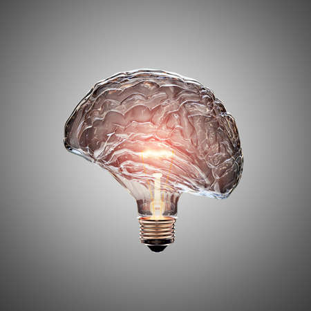 Foto de Glowing Light Bulb with the glass shaped as a Brain. This 3D illustration is conceptual of an active, creative, thinking mind or idea. - Imagen libre de derechos