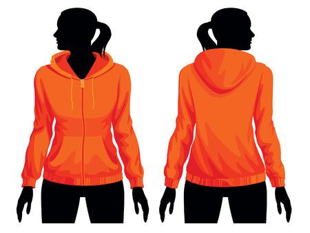 Women's sweatshirt template with human body silhouette