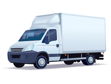 Commercial vehicle - delivery truck on a white background