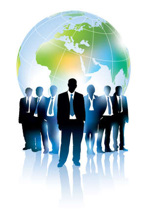 Businesspeople are standing in front of large world map.