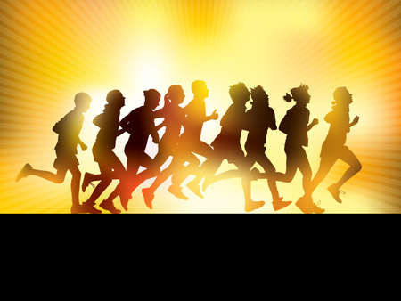 Illustration pour Crowd of young people running. Sport illustration. - image libre de droit