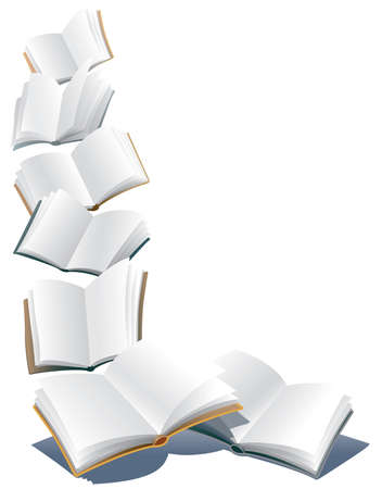 Illustration pour Flying open books over abstract white background - image libre de droit