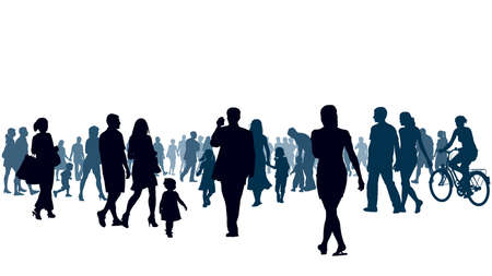 Illustrazione per Crowd of people walking. People are going to the light. - Immagini Royalty Free