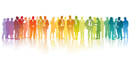Illustration pour Colorful crowd of standing businesspeople over the white background - image libre de droit