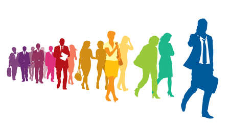 Illustration pour Crowd of colorful walking people over a white background. - image libre de droit