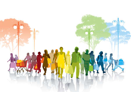 Illustrazione per Colorful crowd of shopping people walking on a street. - Immagini Royalty Free
