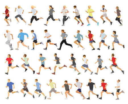 Ilustración de Large collection of running silhouettes, teenagers, boys and girls. - Imagen libre de derechos