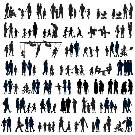 Illustration for Large set of people silhouettes. Families, couples, kids and elderly people. - Royalty Free Image