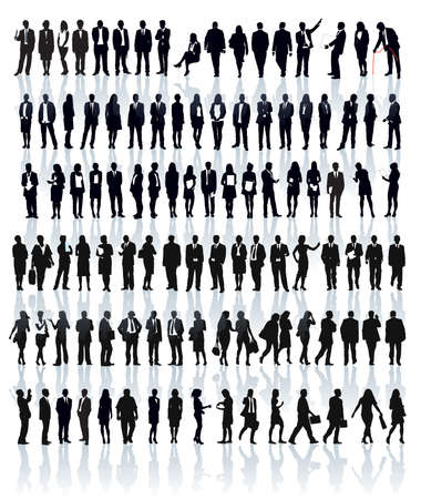 Photo pour Large set of people silhouettes. Businesspeople; men and women. - image libre de droit