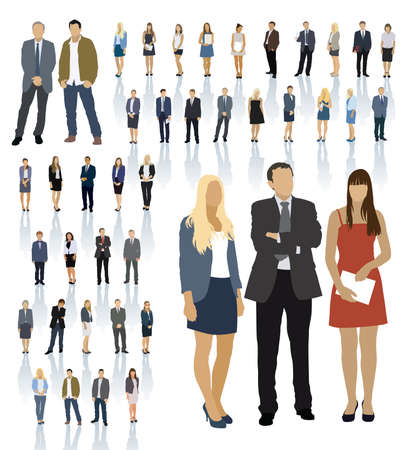 Illustration pour Large colorful set of people silhouettes. Businesspeople; men and women. - image libre de droit