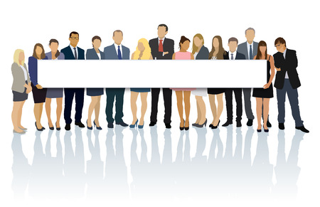 Illustration pour Crowd of businesspeople standing and holding big long billboard. - image libre de droit