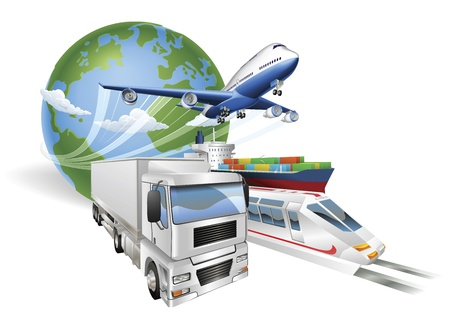 Illustration pour Global logistics concept illustration.. Globe, airplane (aeroplane), truck, train and cargo container ship. - image libre de droit