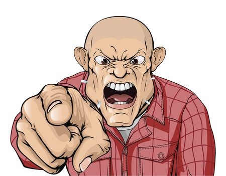 An angry man with shaved head shouting and pointing
