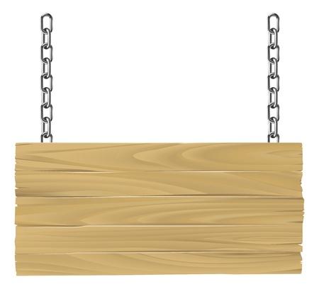 Illustration pour Illustration of an old wooden sign suspended on chains - image libre de droit