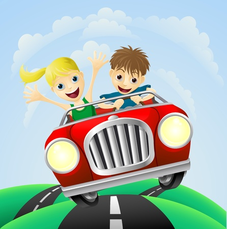 Photo pour Young man and woman having fun driving their car on a road trip. - image libre de droit