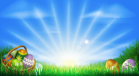 Illustration pour Easter background with decorated Easter eggs and Easter eggs in basket in a sunny field - image libre de droit