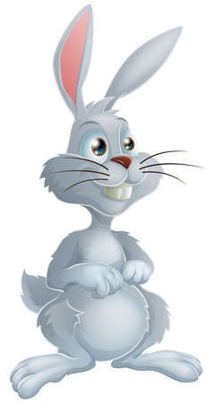 Illustration of a cute white bunny rabbit cartoon character