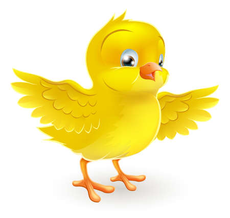Illustration for Illustration of a cute happy little yellow Easter chick with its wings outstretched - Royalty Free Image