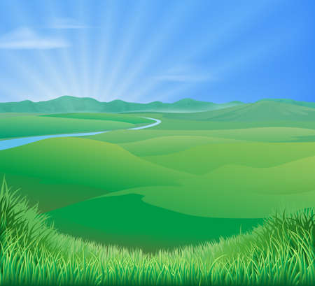 Photo pour An idyllic rural landscape illustration with rolling green grass hills and a sun rising over mountains - image libre de droit