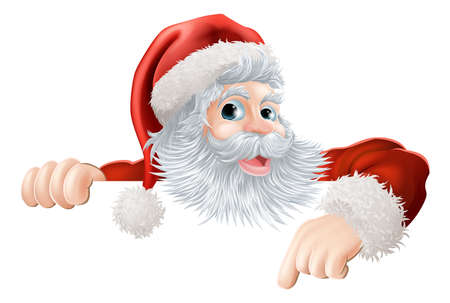 Illustration for Cartoon illustration of Santa Claus pointing down at Christmas message or sign - Royalty Free Image