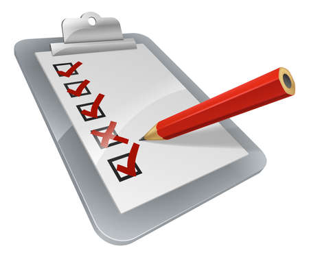 Photo pour A clipboard with pencil marking on it. A survey, opinion poll, or inspection document - image libre de droit
