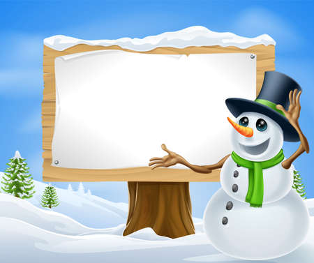 A cute cartoon snowman in Christmas winter scene with sign