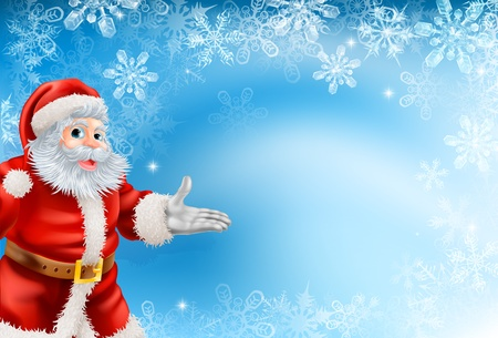 Illustration pour Illustration of beautiful Christmas blue snowflake background with Santa Claus - image libre de droit