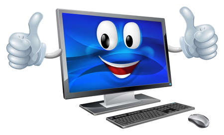 A cute happy cartoon computer mascot character smiling and doing a thumbs up