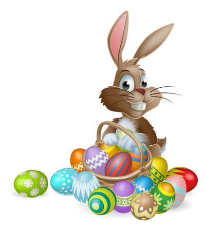 Illustration pour Easter bunny rabbit with Easter basket full of decorated Easter eggs - image libre de droit