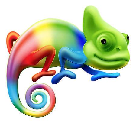 An illustration of a cartoon rainbow coloured chameleon