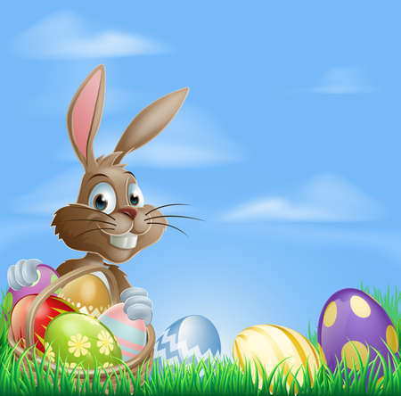 Ilustración de Easter background with copyspace in the sky featuring a cute Easter Bunny and lots of painted Easter Eggs - Imagen libre de derechos