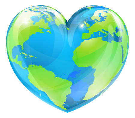 A world globe in the shape of a heart symbol  Concept for loving travel, or loving the world and caring for the environment or similar